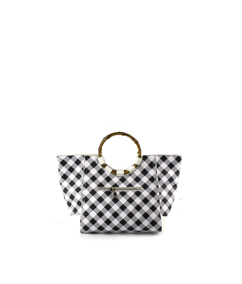BRIDGET GINGHAM BAMBOO HANDLE BASKET TOTE