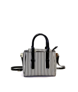 LADY STRIPE FLAP OVER CLOSURE DOUBLE HANDLE CROSSBODY