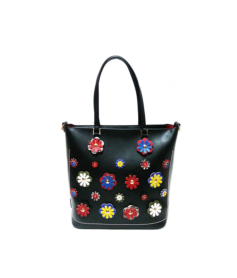 LEA TWO ZIPPER CLOSURE FLOWER PATCH TOTE