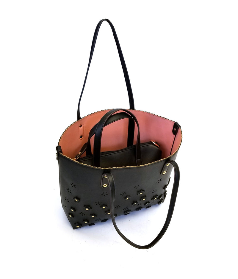 SKYE EYELET LASER CUT TWO IN ONE TOTE