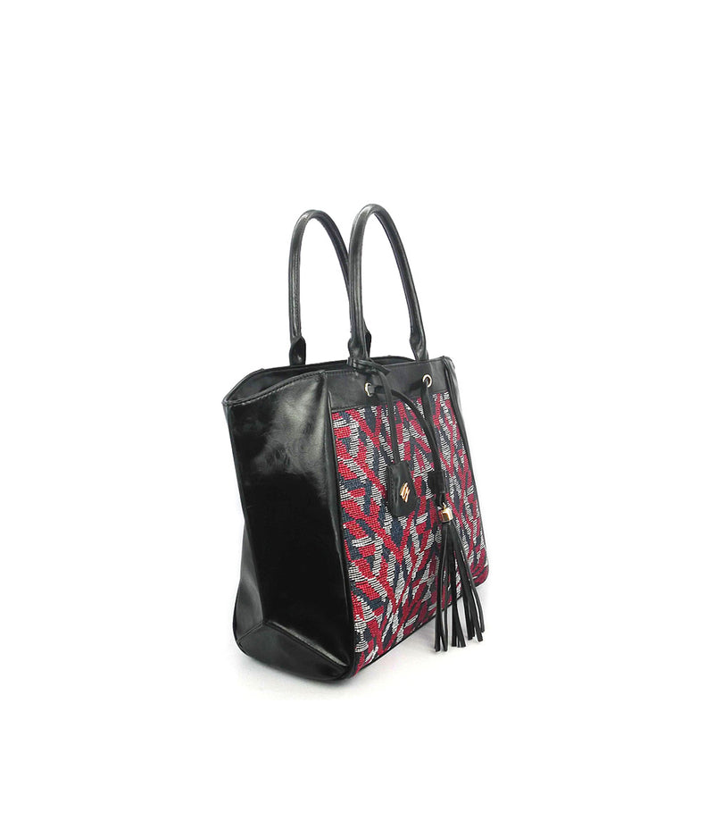 ELLA JACQUARD PATTERN TOP ZIP CLOSURE TOTE