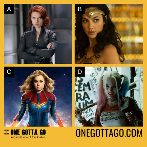 One Gotta Go - Black Widow, Wonder Woman, Captain Marvel, Harley Quinn