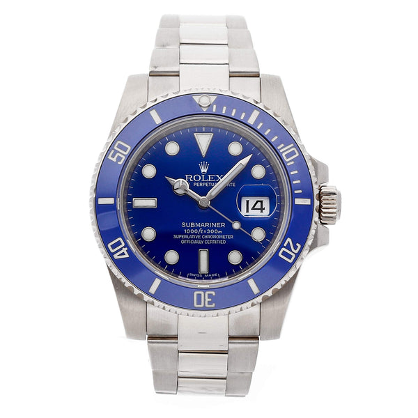 Rolex Submariner in 18K White Gold and Blue
