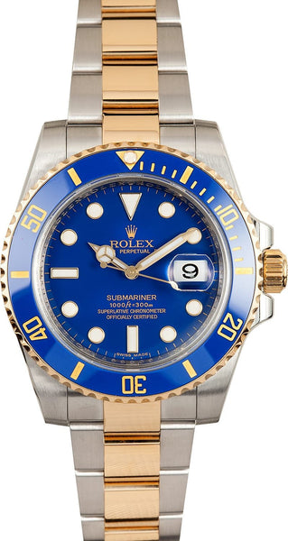 Stainless Steel and Gold Blue Submariner Rolex