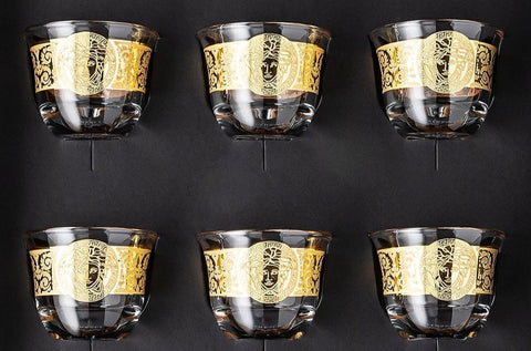Rosenthal Versace, Gala Prestige Medusa Gold Set of 6 small mugs/cups