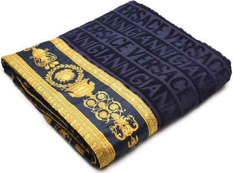 Versace Home, Barocco & Robe, Beach towel Blue navy