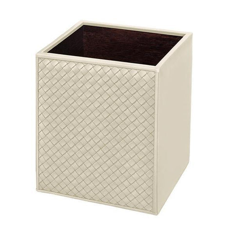 Riviere Waste Basket, woven leathr ivory, WB-INTSM