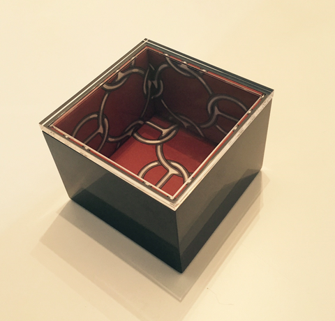 High Gloss Lacquered Graphite Square Box Lined with Hermès Fabric