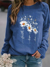 Load image into Gallery viewer, Small daisy butterfly print round neck long sleeve blouse