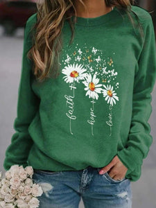 Small daisy butterfly print round neck long sleeve blouse