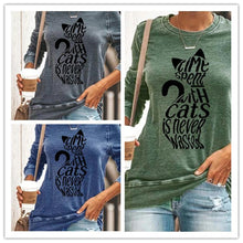 Load image into Gallery viewer, Cat print pullover casual long-sleeved T-shirt top