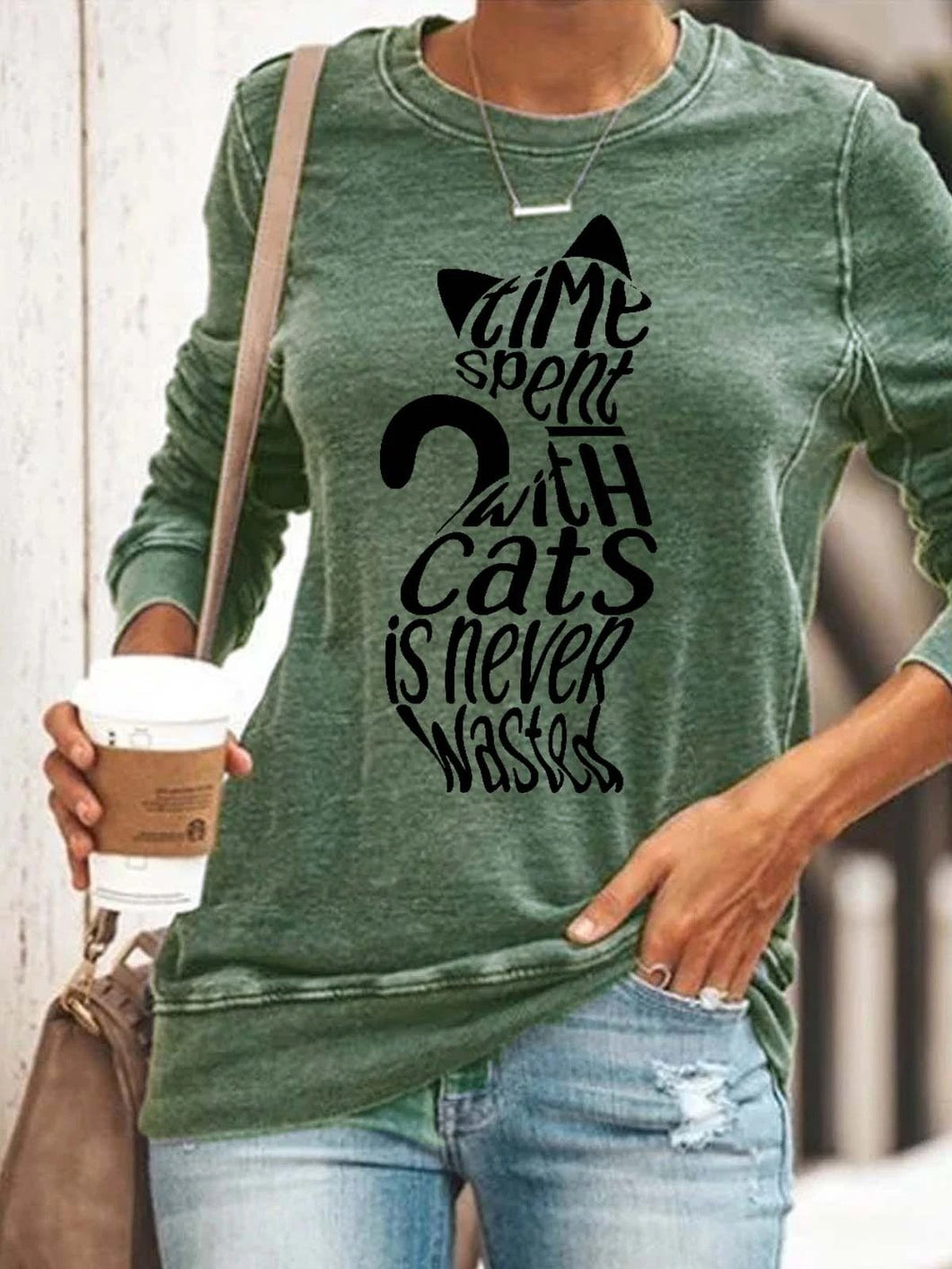 Cat print pullover casual long-sleeved T-shirt top