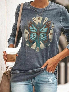 Butterfly print round neck long sleeve T-shirt