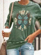 Load image into Gallery viewer, Butterfly print round neck long sleeve T-shirt