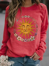 Load image into Gallery viewer, Sun print round neck long sleeve women's T-shirt