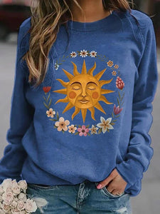 Sun print round neck long sleeve women's T-shirt