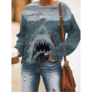 Shark print long-sleeved sweatshirt
