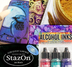 Alcohol inks and stamp pads perfect pearls mica powder craft stamping coloring supply