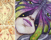 Watercolor paintings and drawing sketches by Kimberly Crick original art, prints, digi stamps