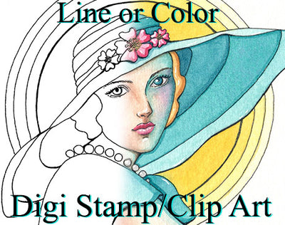 Digital download art for digi stamps and adult coloring book