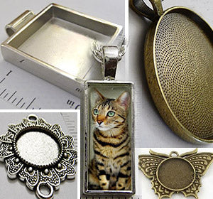 Blank pendant trays to glue art, prints, photo pictures DIY necklace