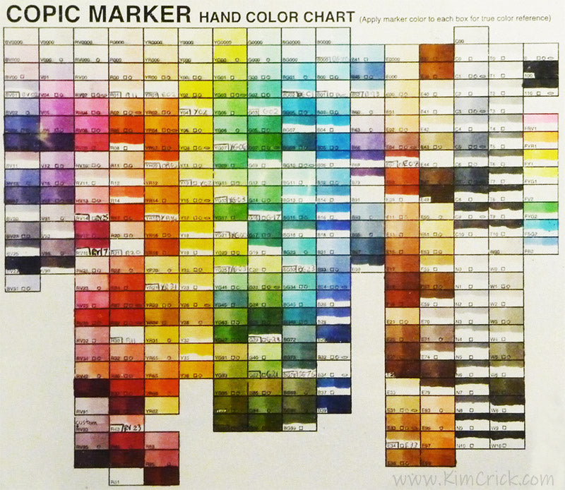 Copic marker color chart hand painted drawn