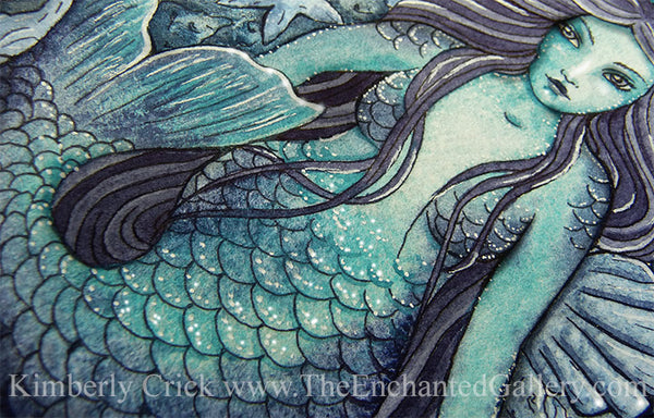 Mermaid watercolor painting blue underwater Daniel Smith sodalite sleeping beauty turquoise