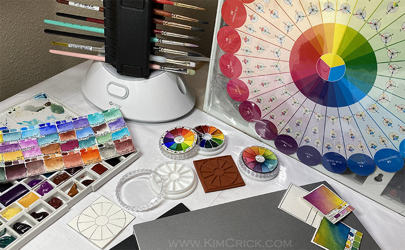 Color wheel artist tool primary mixing harmony neutrals rubber stamp palette