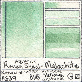 Malachite Gemstone Roman Szmal Aquarius Watercolor Natural Mineral Color Swatch Granulating