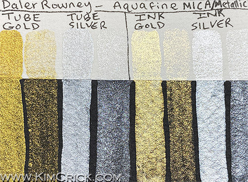 Daler Rowney Aquafine Watercolor Gold Silver Imit Tube and Ink Mica Metallic