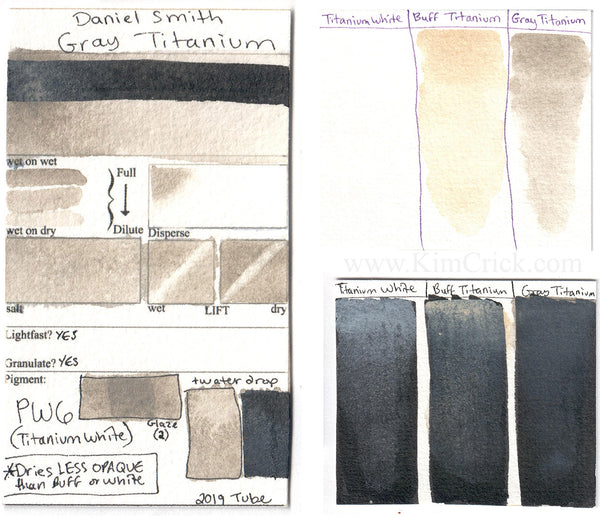 Daniel Smith watercolor Gray Titanium color chart swatch Buff White PW6 comparison