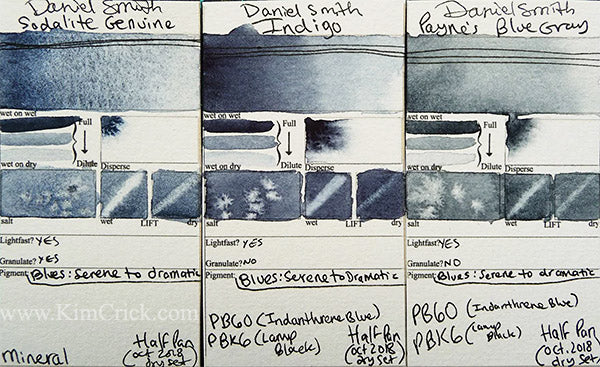 Daniel Smith Watercolor Indigo Paynes Blue Gray Sodalite Genuine color chart swatch card