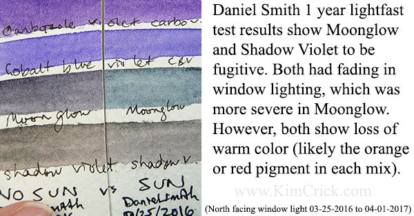 Moonglow vs Shadow Violet lightfast test fading in the sun fugitive colors Daniel Smith watercolor paints