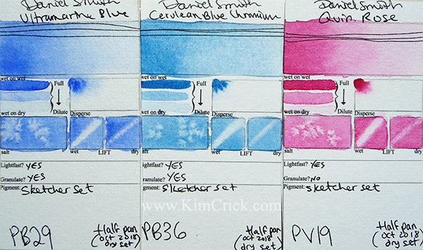 Daniel Smith watercolor cerulean blue chrome ultramarine quin rose swatch card paint sample