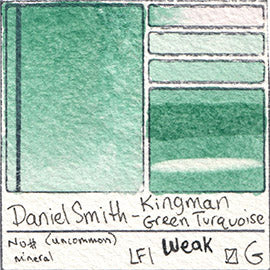 Daniel Smith Kingman Green Turquoise Granulate Mineral Gem Stone Pigment Database Swatch Card
