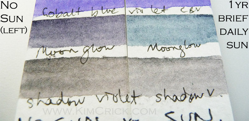 Daniel Smith moonglow and shadow violet pr177 po73 fading fugitive lightfast test results watercolor