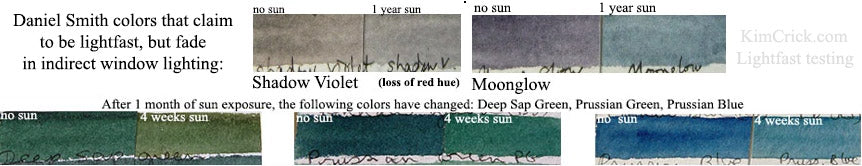 Daniel Smith watercolor moonglow fugitive lightfast test shadow violet and prussian blue green