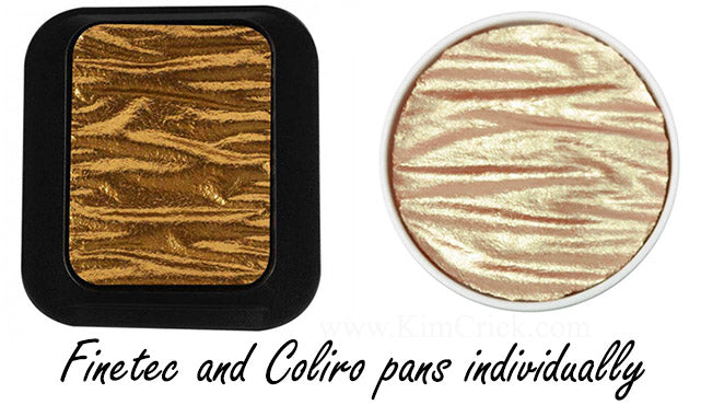 coliro and finetec watercolor pan individual single tray mica metallic shimmer glitter chameleon color shift