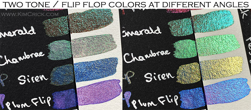 Finetec coliro two tone flip flop color shifting chameleon paint watercolor chart