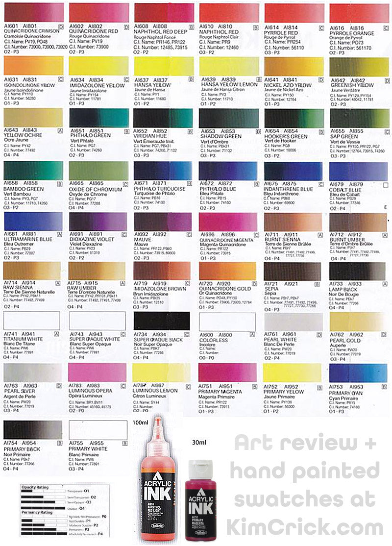 Holbein acrylic ink color chart pigment code number review waterproof ink for watercolor painting