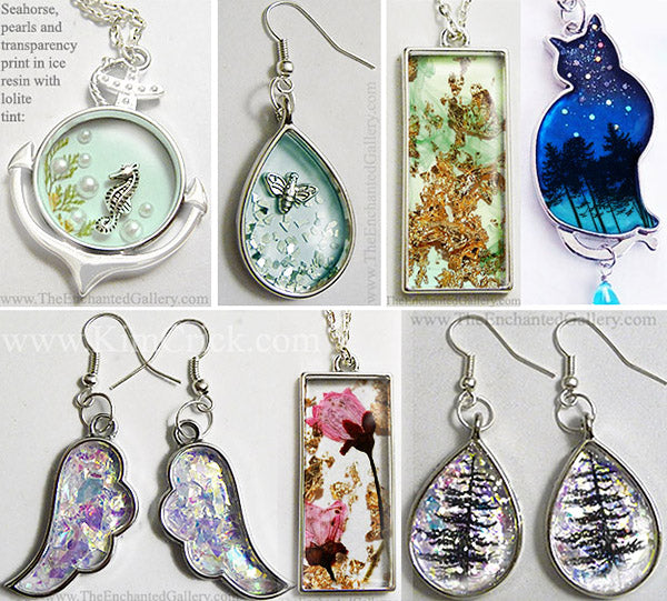 Ice Resin open back bezel frame pendant glitter foil dried flower DIY jewelry