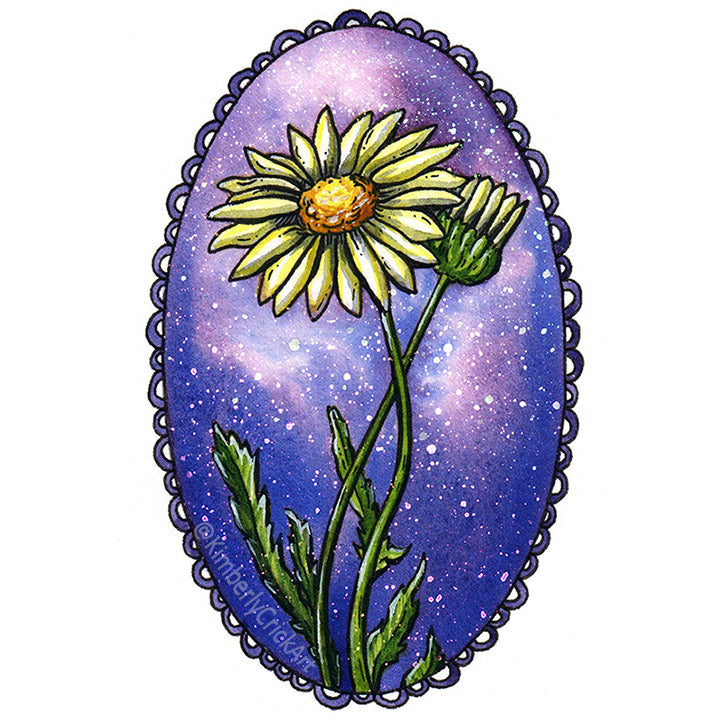 Sonnet watercolor floral botanical painting daisy nebula sky space stars