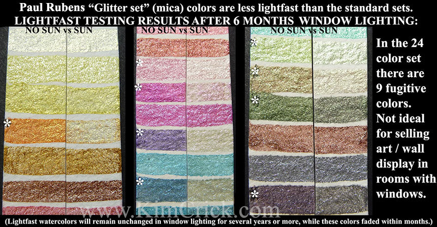Paul Rubens watercolor lightfast test mica glitter half pan swatch color chart 24