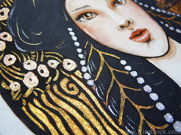 Art Nouveau Gustav Klimt Gold watercolor painting Kimberly Crick Van Gogh