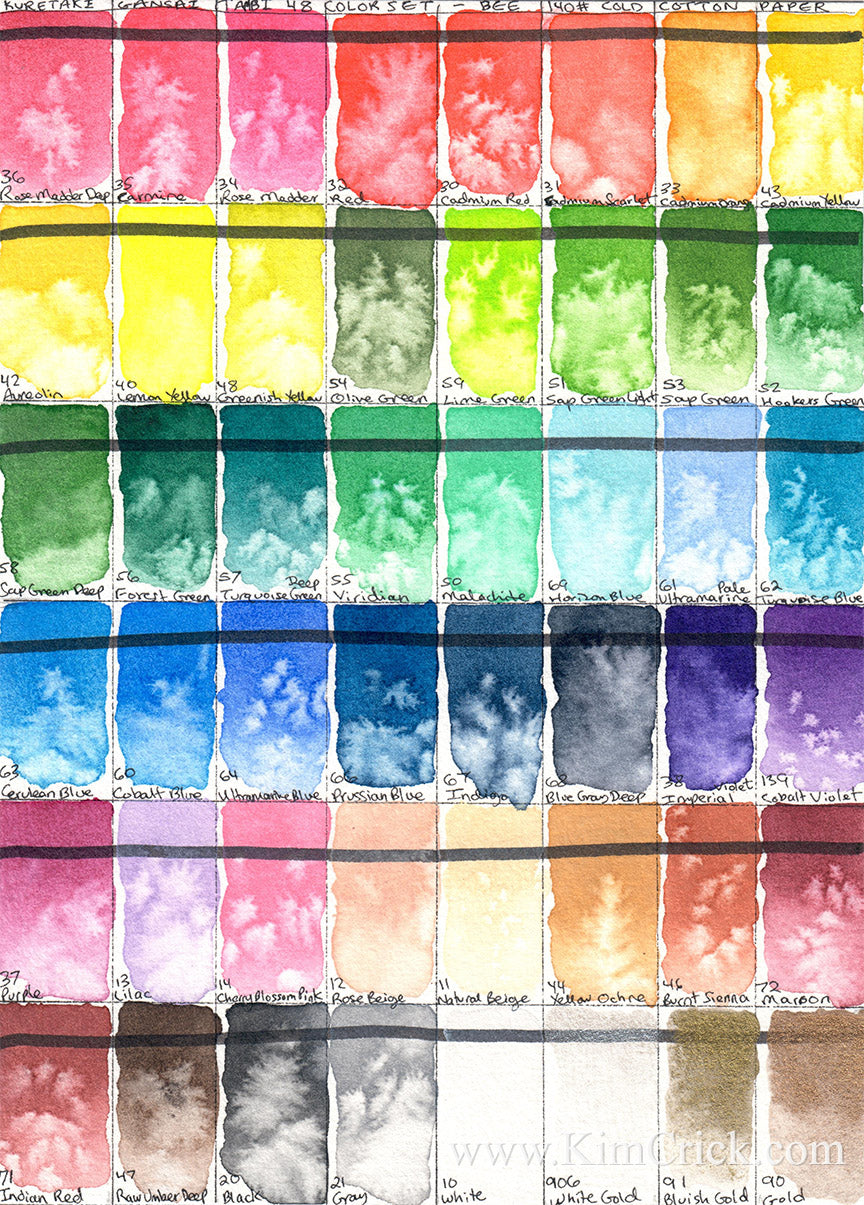 Kuretake gansai tambi 48 color chart set new 2019 pastel selection big pan palette watercolor review