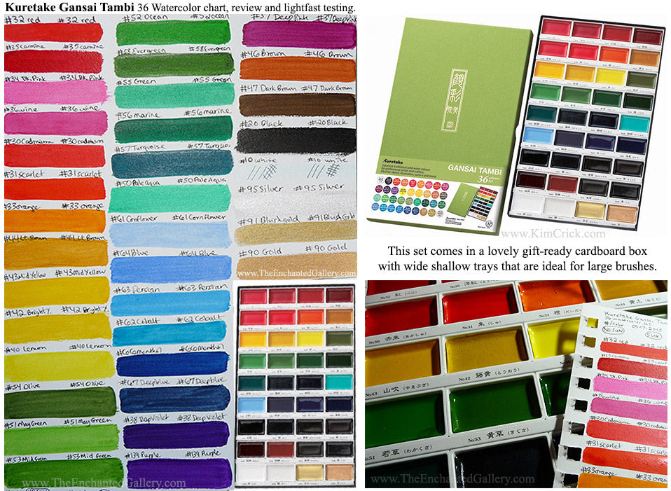 Kuretake Gansai 36 color watercolor tambi set japanase paint review lightfast test