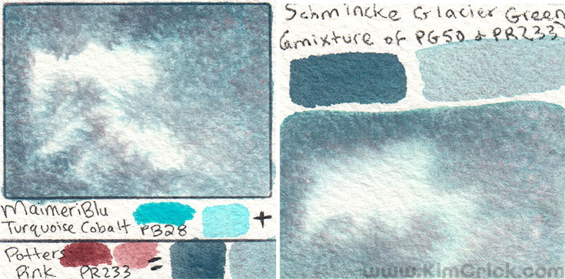 MaimeriBlu compare schmincke horadam glacier green mix your own pg50 cobalt turquoise teal and potters pink pr233