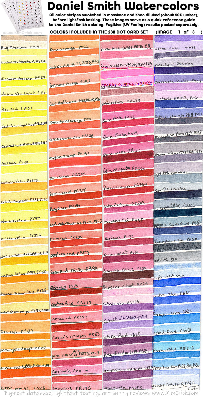 Daniel Smith watercolor color chart lightfast test pigment code names swatch
