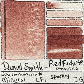 Mineral Daniel Smith Red Fuchsite Genuine sparkle glitter watercolor color colour pigment database swatch card