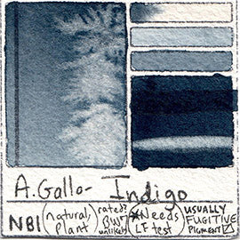 NB1 A Gallo Indigo pigment natural fugitive database swatch card water color watercolor art color